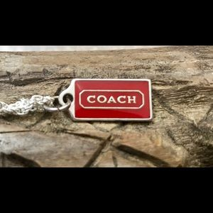 Coach Red Enamel Pendant .925 Sterling Necklace